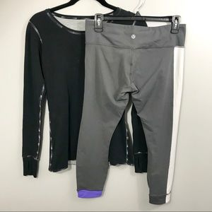 2 Piece Lululemon Outfit LS Top & Cropped Leggings